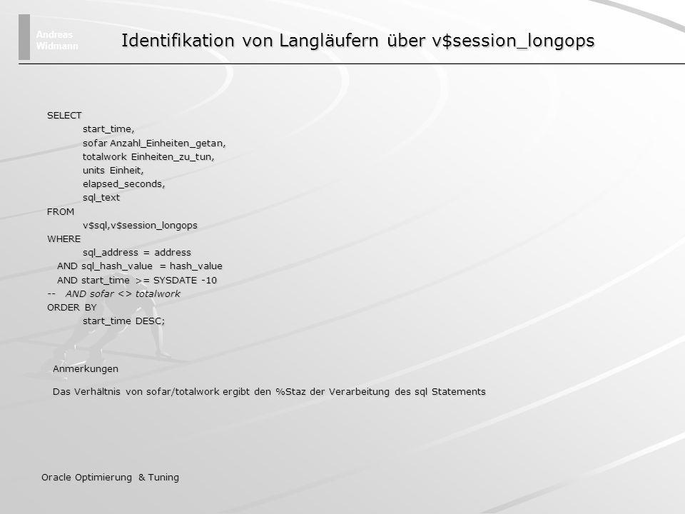 Identifikation von Langläufern über v$session_longops