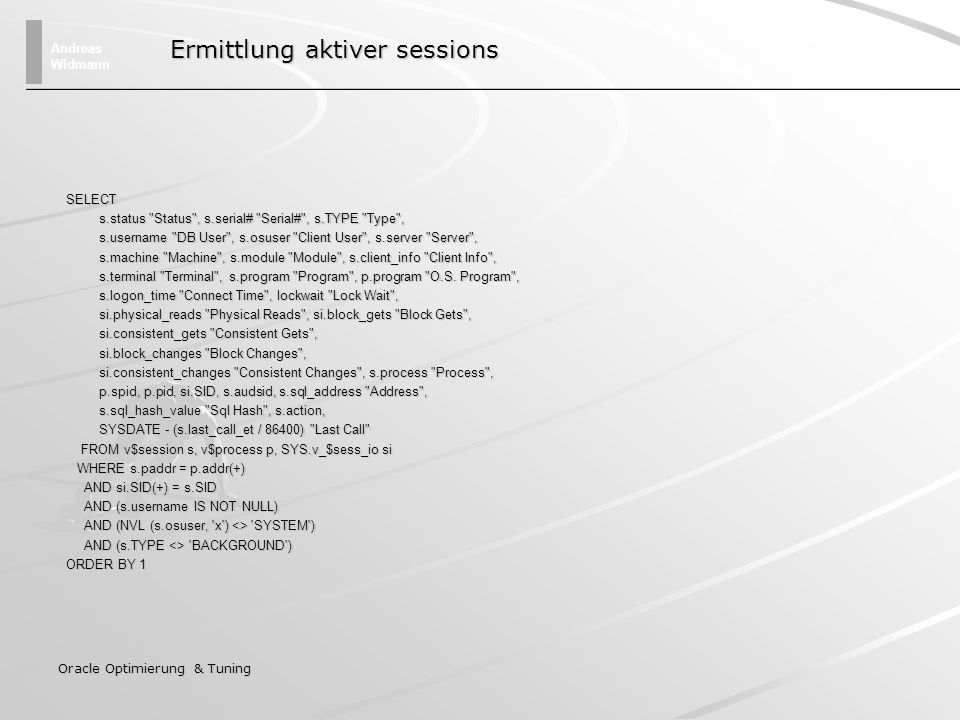 Ermittlung aktiver sessions