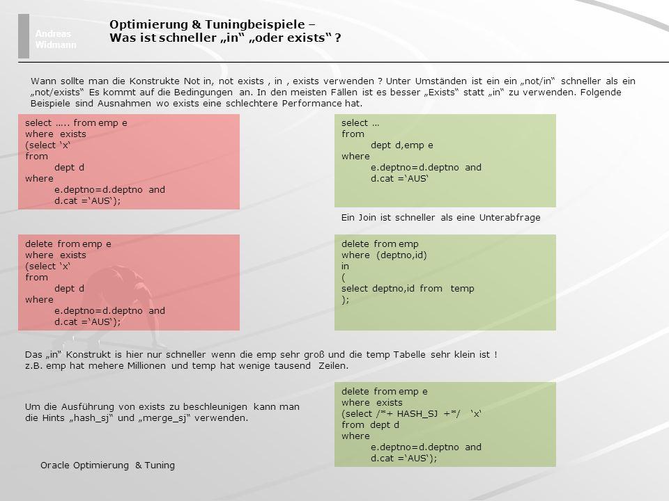 """Optimierung & Tuningbeispiele – Was ist schneller """"in """"oder exists"""