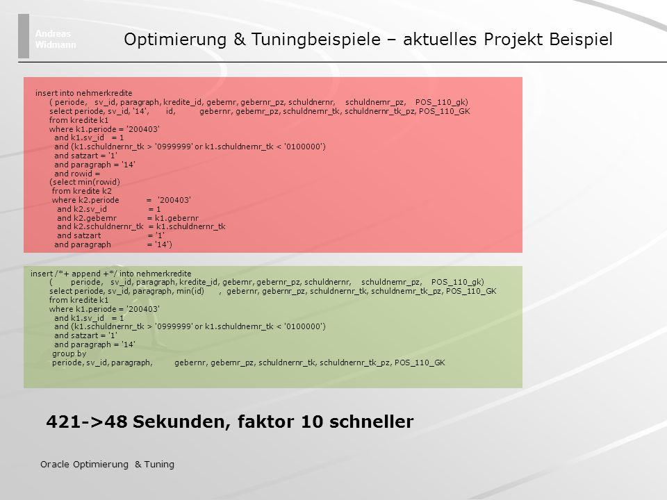 Optimierung & Tuningbeispiele – aktuelles Projekt Beispiel
