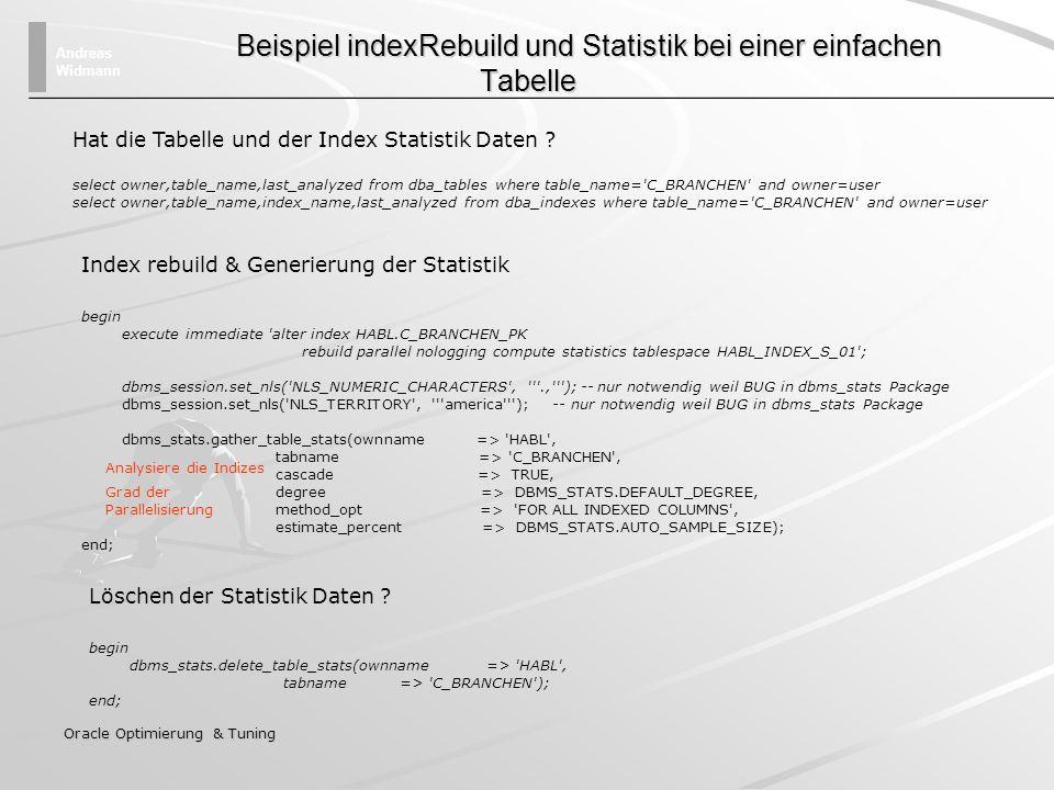 Beispiel indexRebuild und Statistik bei einer einfachen Tabelle
