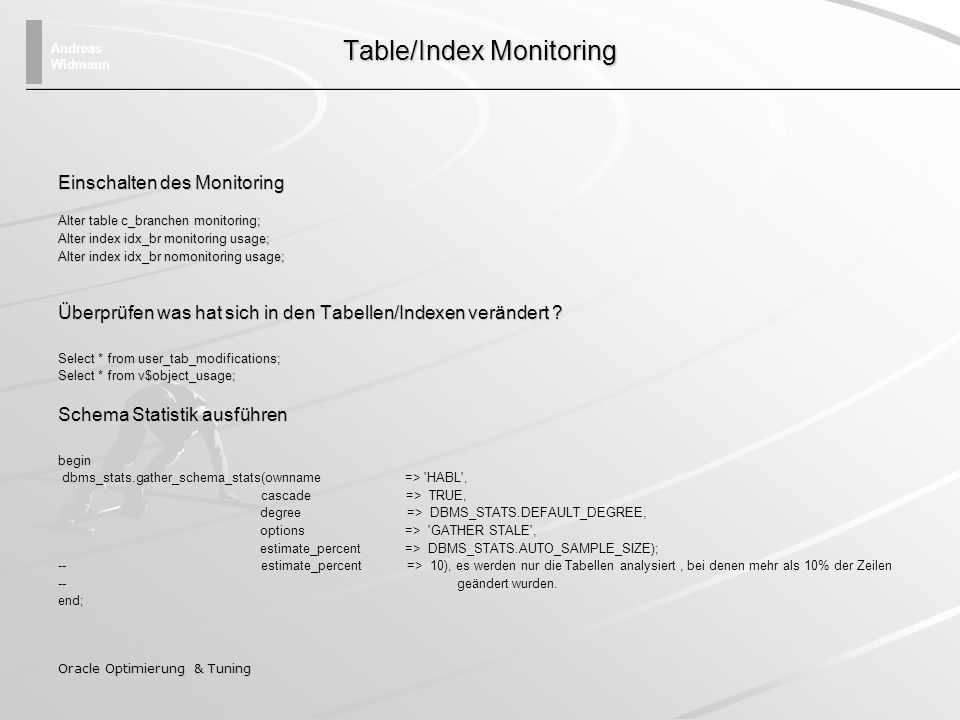 Table/Index Monitoring