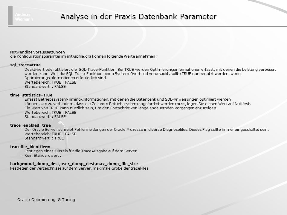 Analyse in der Praxis Datenbank Parameter