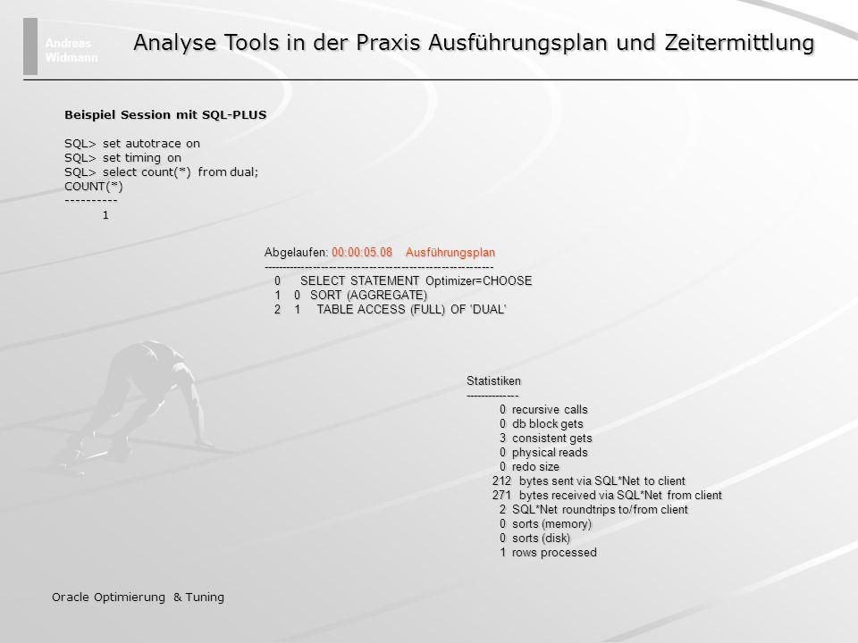 Analyse Tools in der Praxis Ausführungsplan und Zeitermittlung