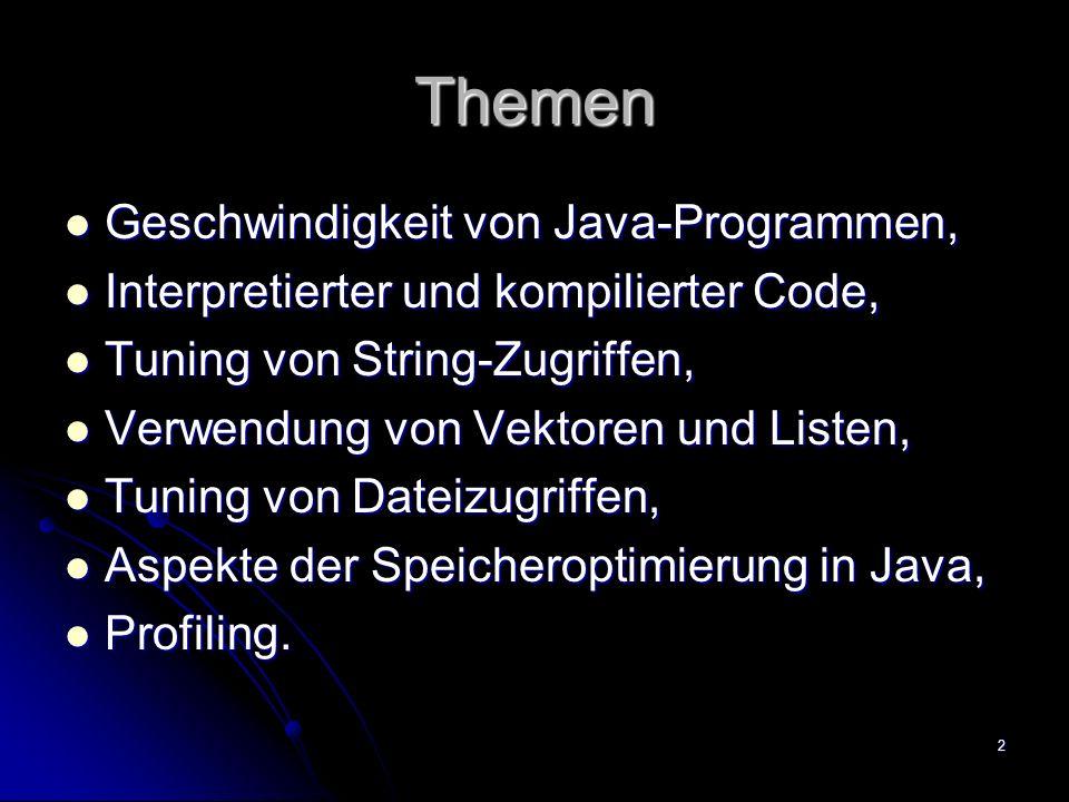 Themen Geschwindigkeit von Java-Programmen,