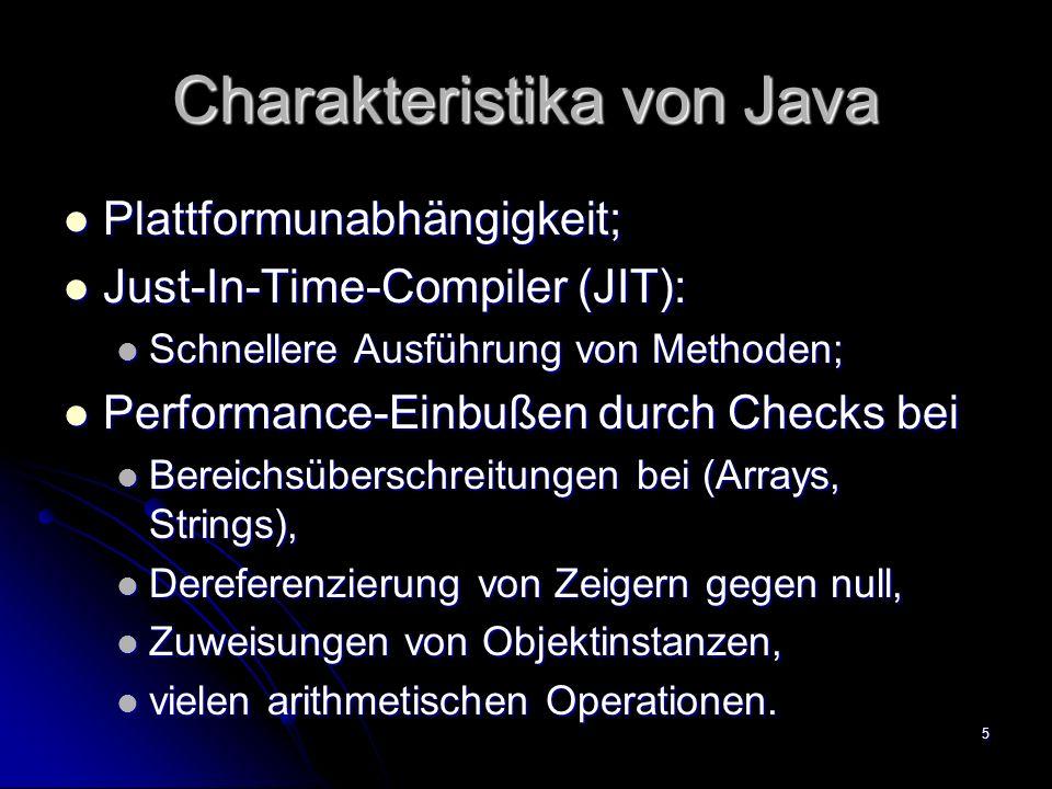 Charakteristika von Java