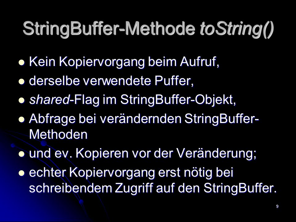 StringBuffer-Methode toString()