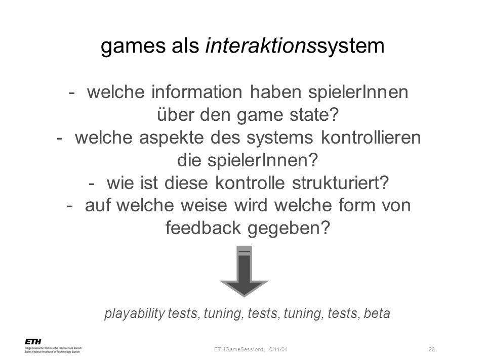 games als interaktionssystem