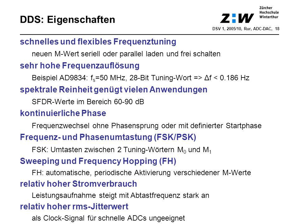 DDS: Eigenschaften schnelles und flexibles Frequenztuning