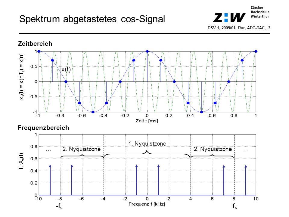 Spektrum abgetastetes cos-Signal