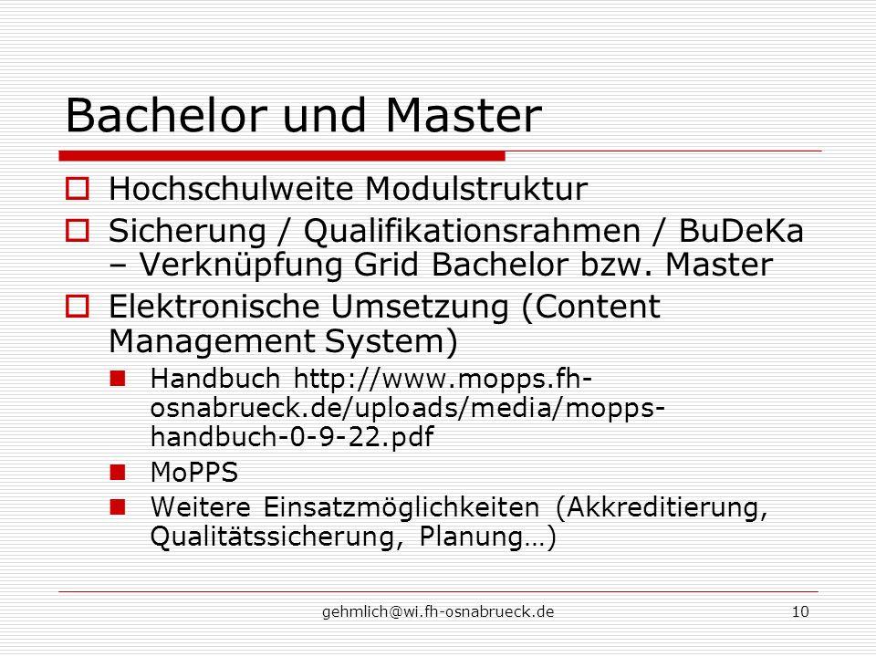 Bachelor und Master Hochschulweite Modulstruktur