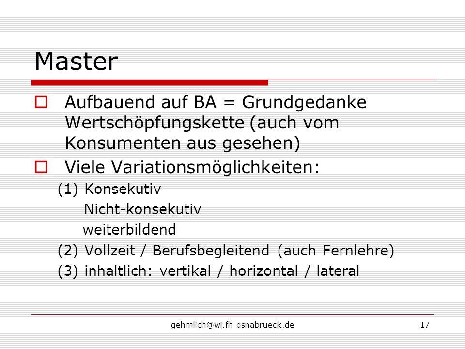 Master Aufbauend auf BA = Grundgedanke Wertschöpfungskette (auch vom Konsumenten aus gesehen) Viele Variationsmöglichkeiten: