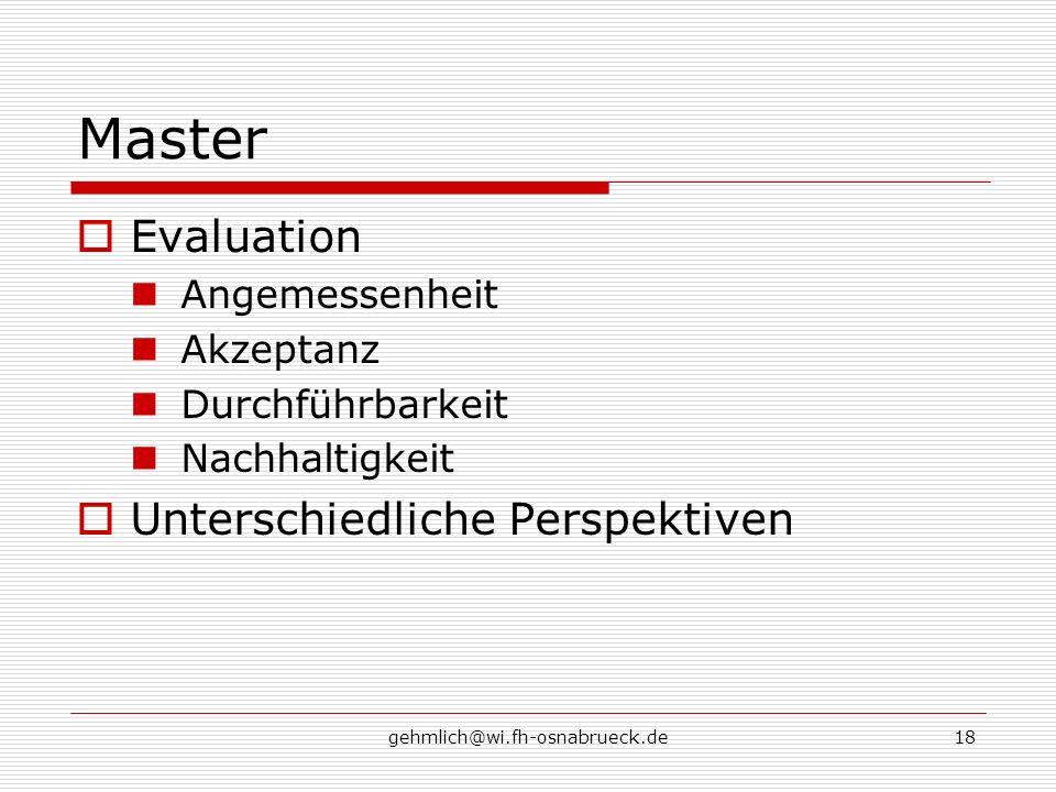 Master Evaluation Unterschiedliche Perspektiven Angemessenheit