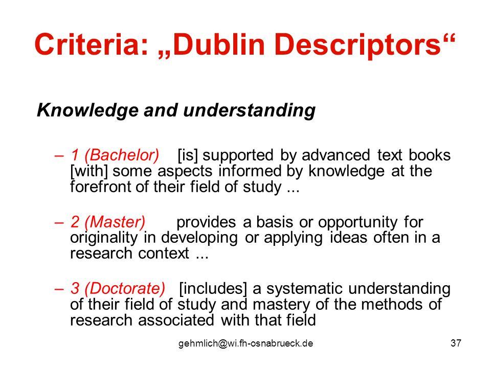 """Criteria: """"Dublin Descriptors"""
