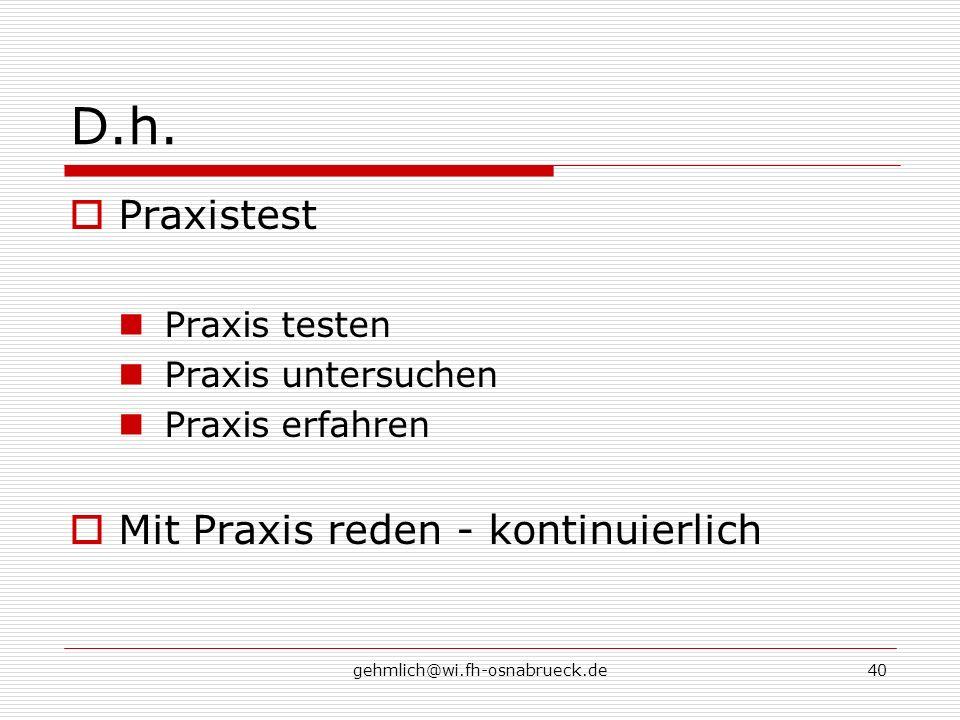 D.h. Praxistest Mit Praxis reden - kontinuierlich Praxis testen