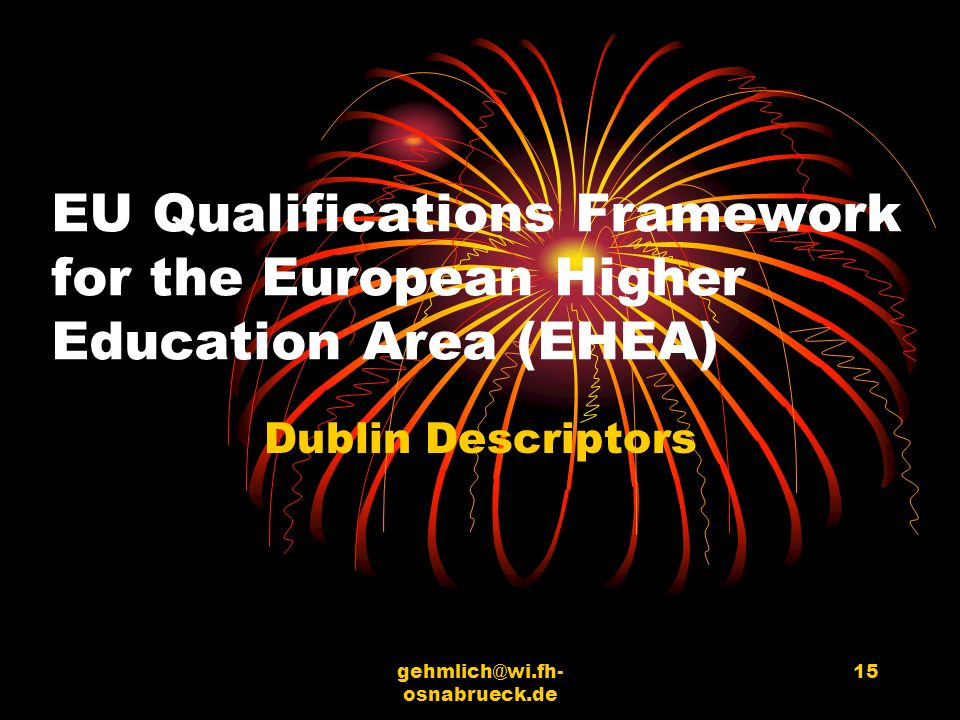 EU Qualifications Framework for the European Higher Education Area (EHEA)