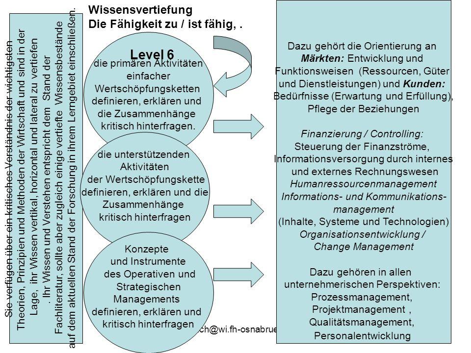 Level 6 Wissensvertiefung Die Fähigkeit zu / ist fähig, .