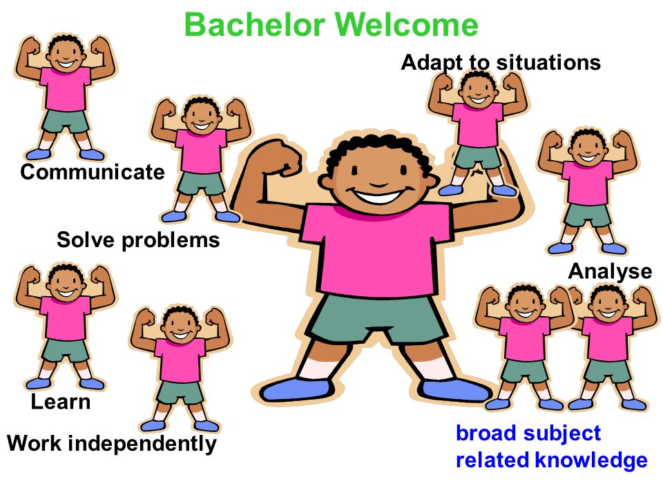 Bachelor Welcome Adapt to situations Communicate Solve problems