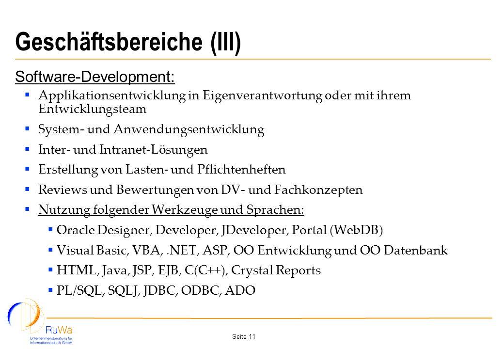 Geschäftsbereiche (III)