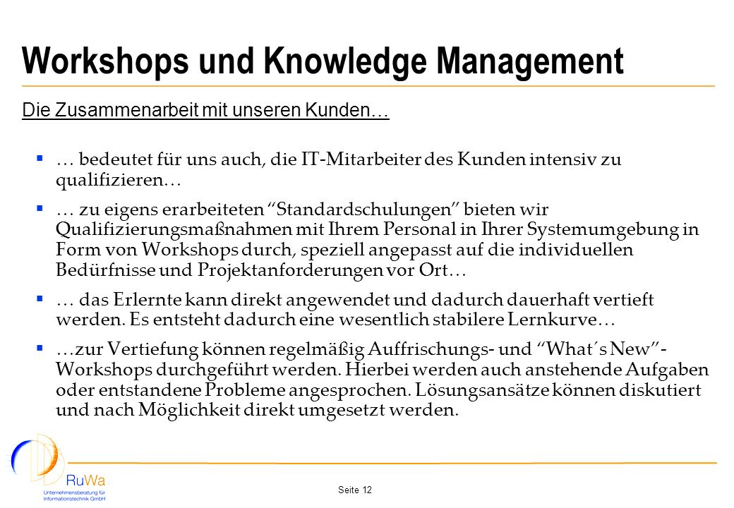 Workshops und Knowledge Management