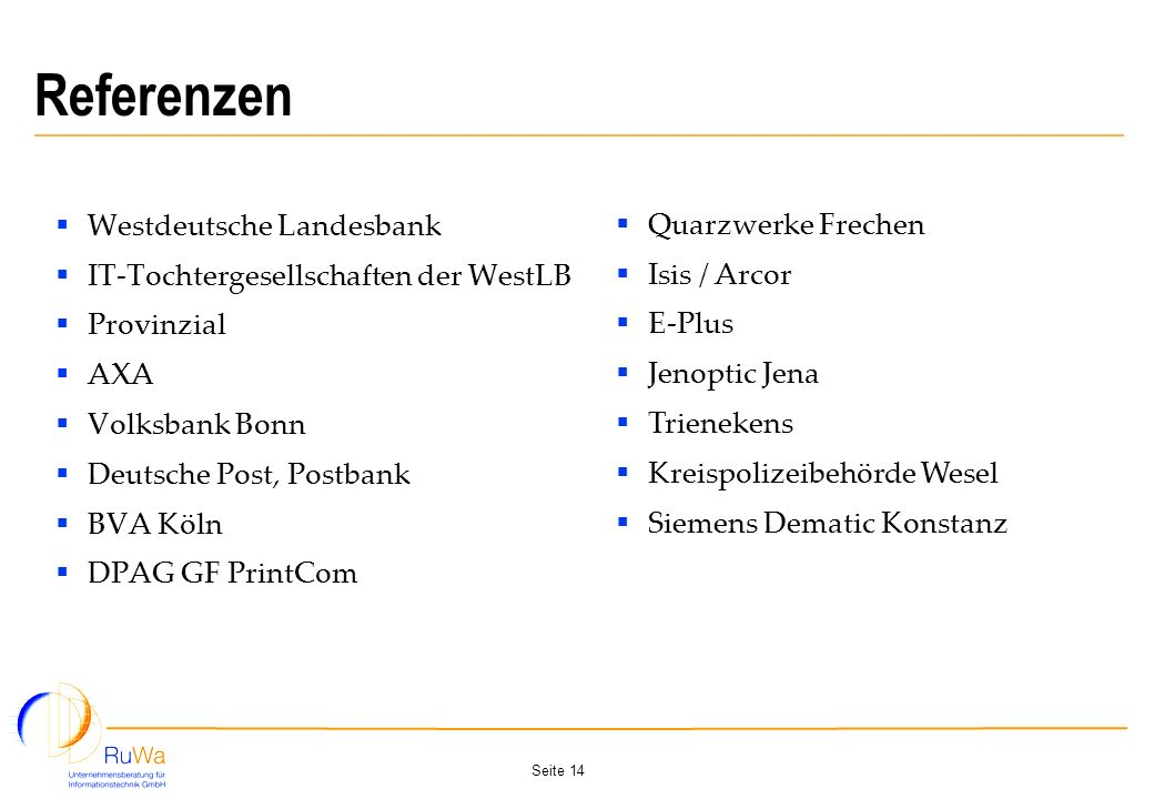 Referenzen Westdeutsche Landesbank Quarzwerke Frechen