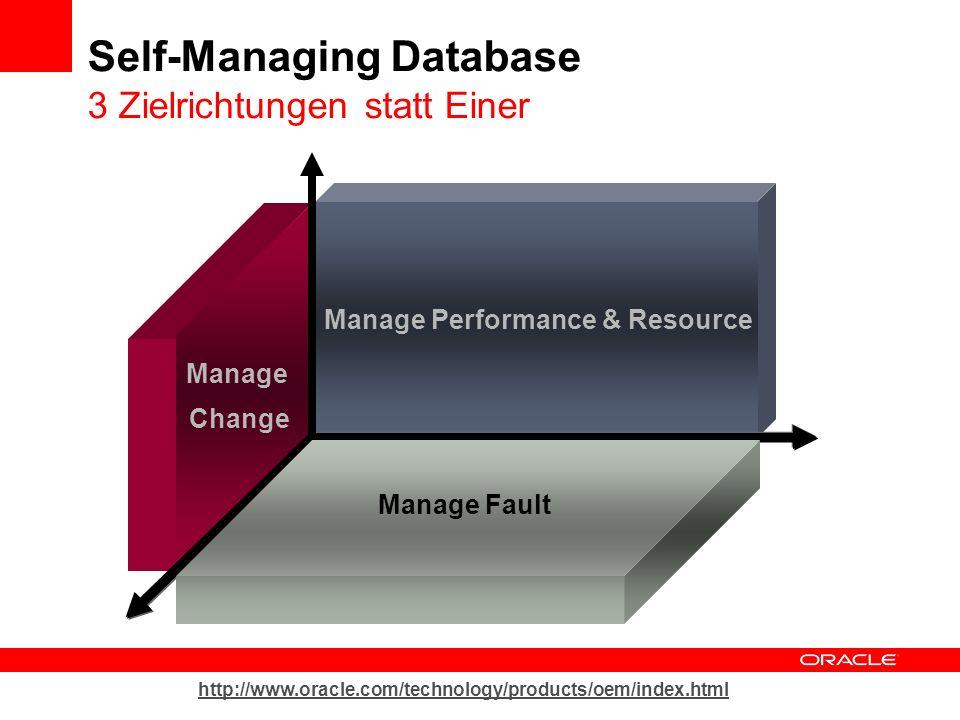 Self-Managing Database 3 Zielrichtungen statt Einer