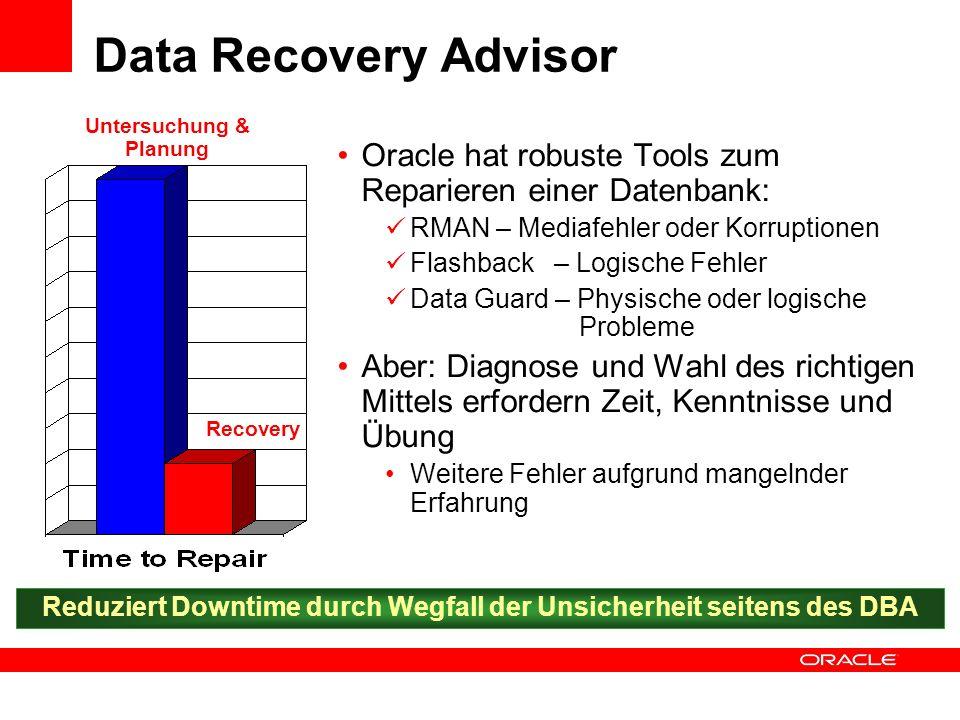 Data Recovery Advisor Untersuchung & Planung. Oracle hat robuste Tools zum Reparieren einer Datenbank: