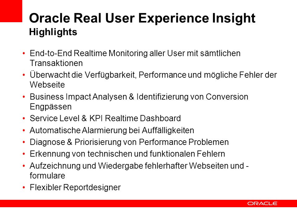 Oracle Real User Experience Insight Highlights