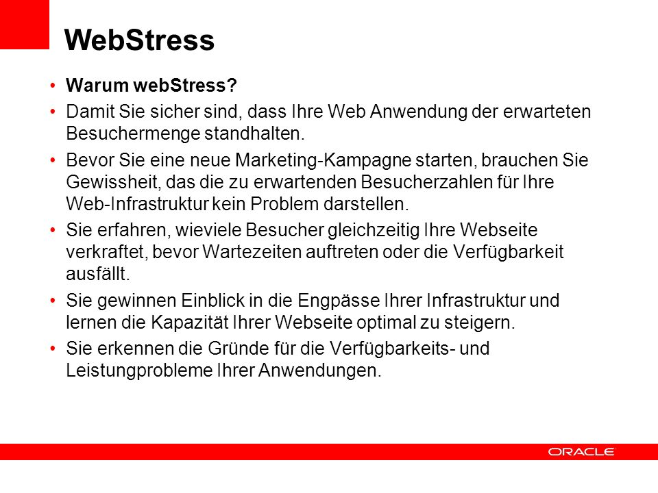 WebStress Warum webStress