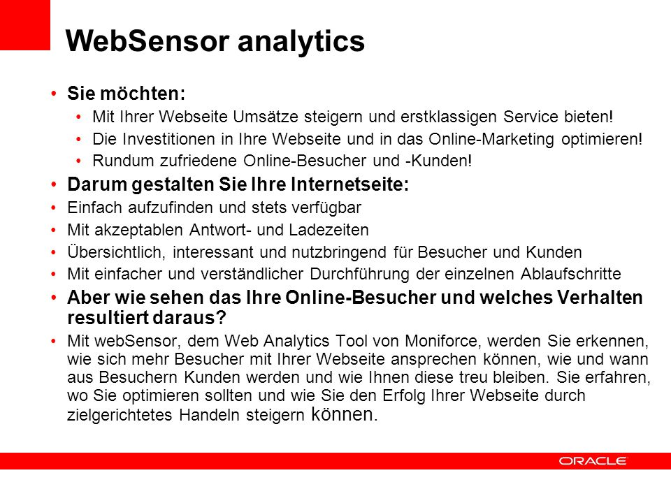 WebSensor analytics Sie möchten: