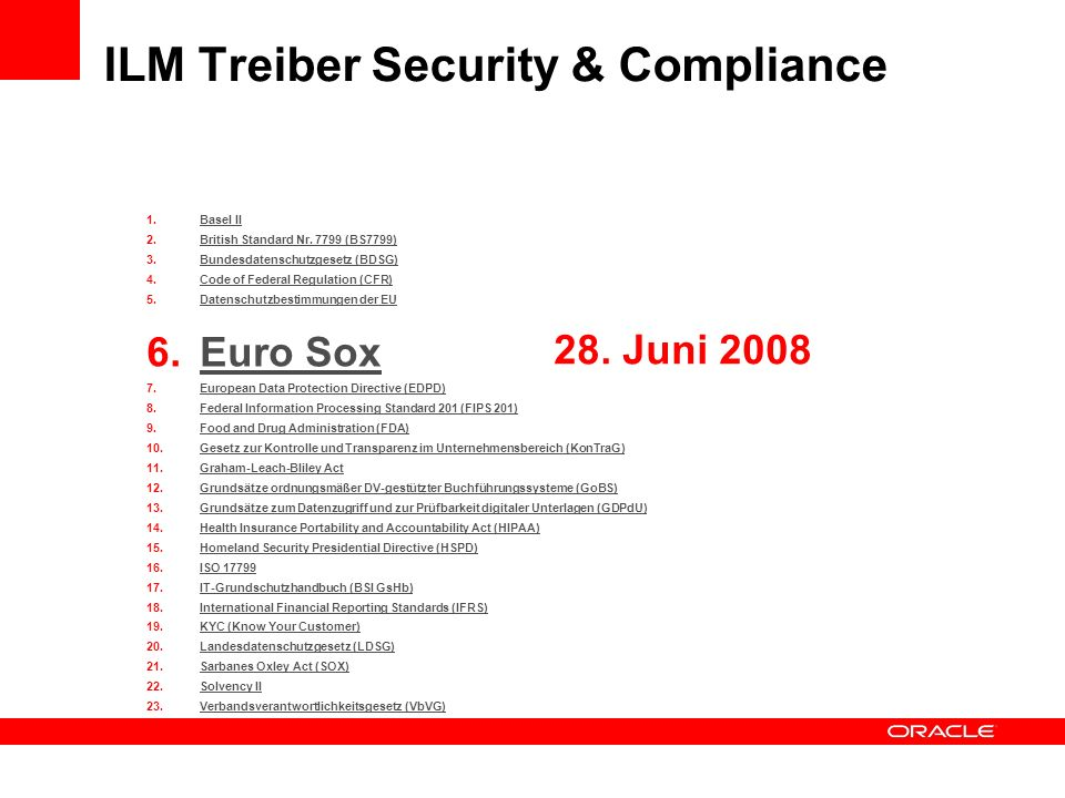 ILM Treiber Security & Compliance