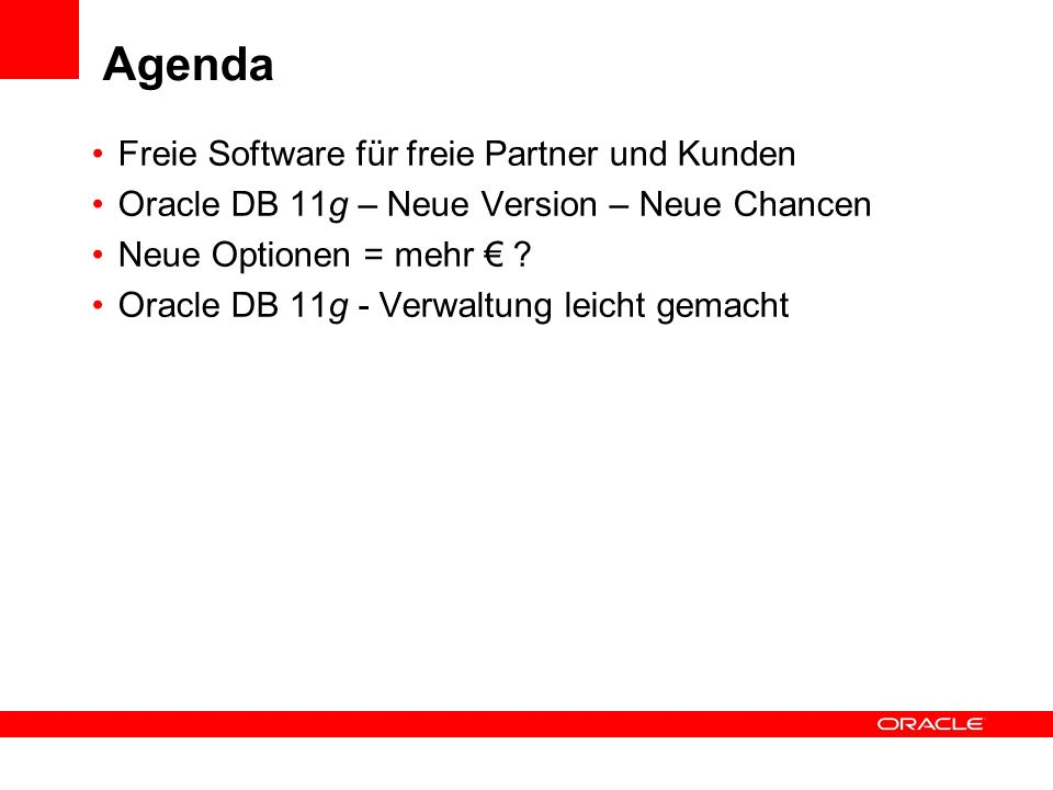 Agenda Freie Software für freie Partner und Kunden