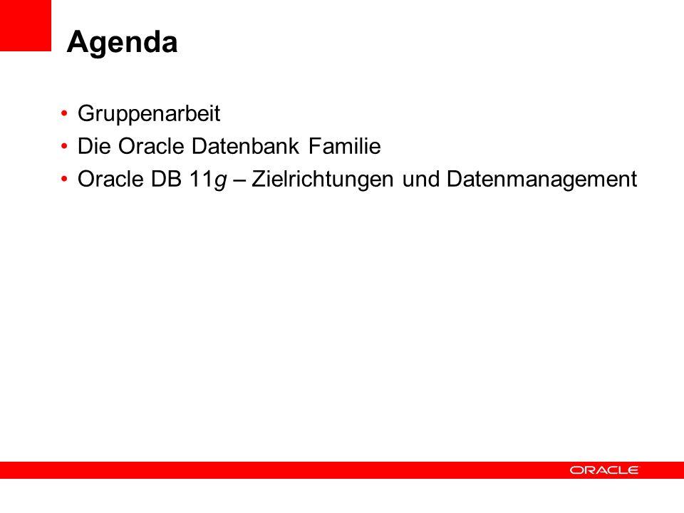 Agenda Gruppenarbeit Die Oracle Datenbank Familie