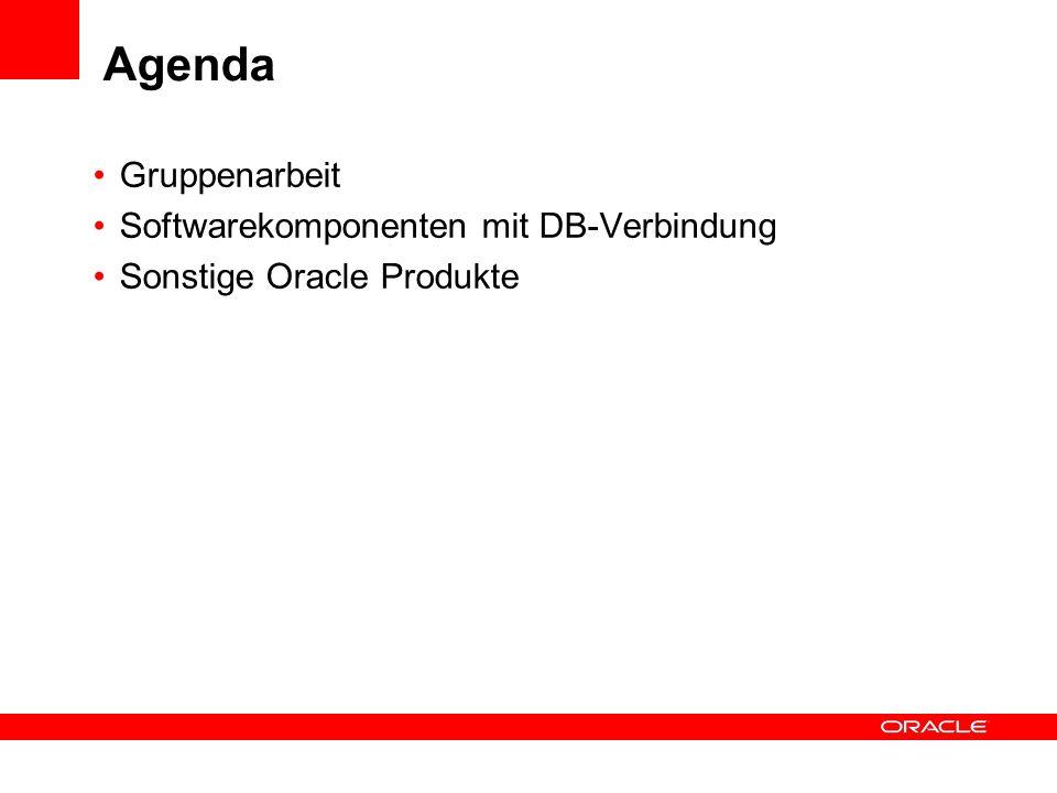 Agenda Gruppenarbeit Softwarekomponenten mit DB-Verbindung