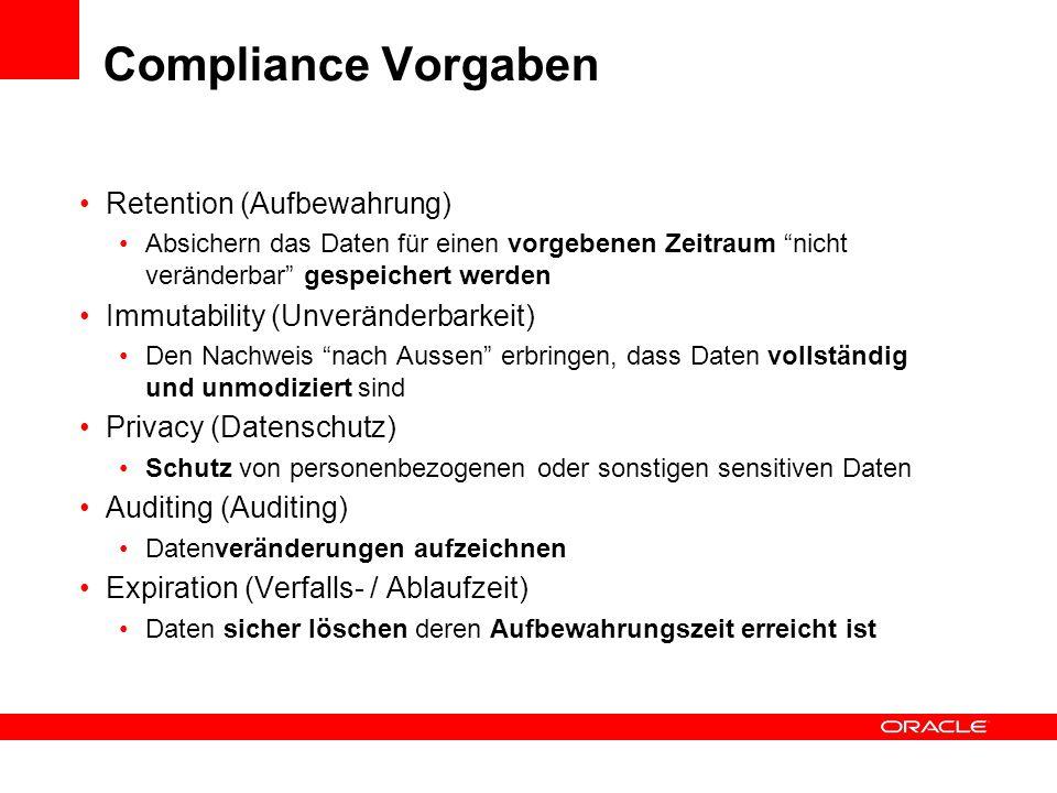 Compliance Vorgaben Retention (Aufbewahrung)