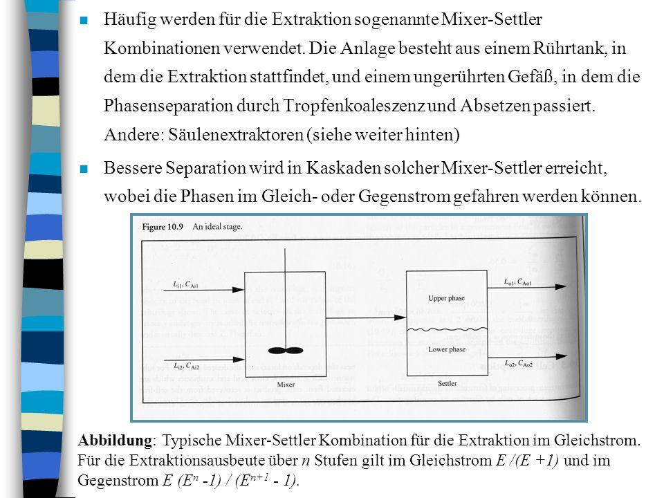 Häufig werden für die Extraktion sogenannte Mixer-Settler Kombinationen verwendet. Die Anlage besteht aus einem Rührtank, in dem die Extraktion stattfindet, und einem ungerührten Gefäß, in dem die Phasenseparation durch Tropfenkoaleszenz und Absetzen passiert. Andere: Säulenextraktoren (siehe weiter hinten)