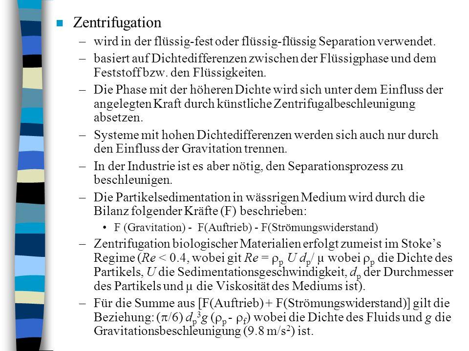 Zentrifugation wird in der flüssig-fest oder flüssig-flüssig Separation verwendet.