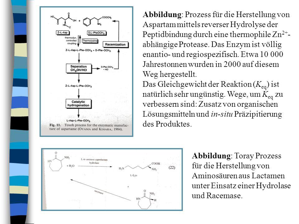 Abbildung: Prozess für die Herstellung von Aspartam mittels reverser Hydrolyse der Peptidbindung durch eine thermophile Zn2+-abhängige Protease. Das Enzym ist völlig enantio- und regiospezifisch. Etwa 10 000 Jahrestonnen wurden in 2000 auf diesem Weg hergestellt.