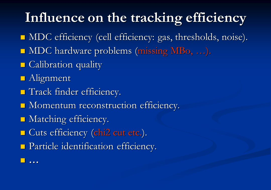 Influence on the tracking efficiency