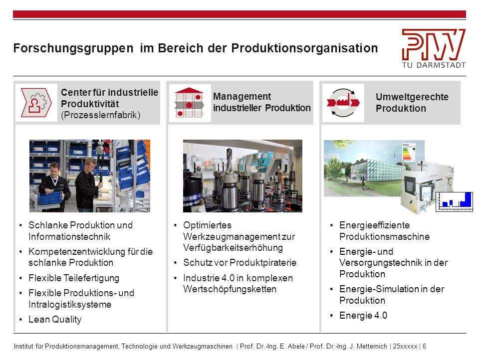 Forschungsgruppen im Bereich der Produktionsorganisation
