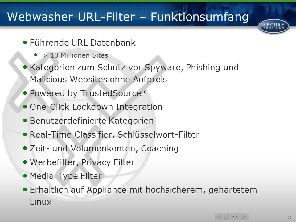 Webwasher URL-Filter – Funktionsumfang