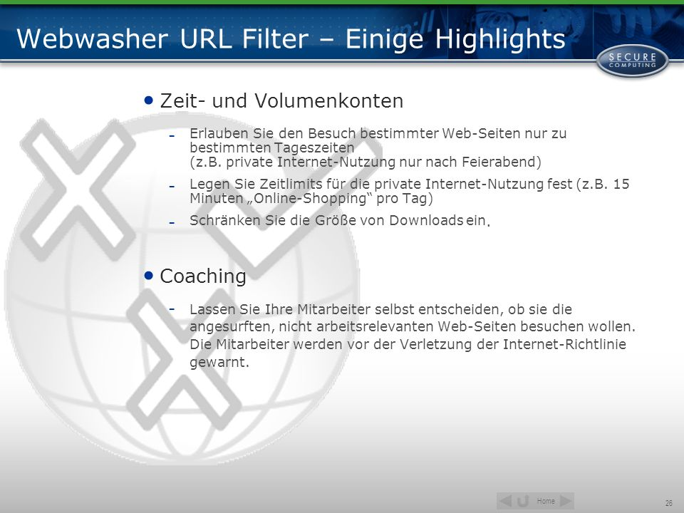Webwasher URL Filter – Einige Highlights