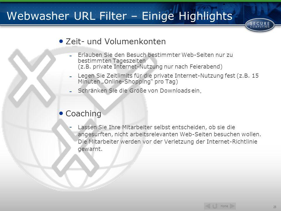 Webwasher URL Filter – Einige Highlights