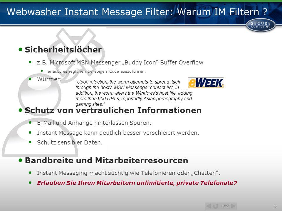 Webwasher Instant Message Filter: Warum IM Filtern