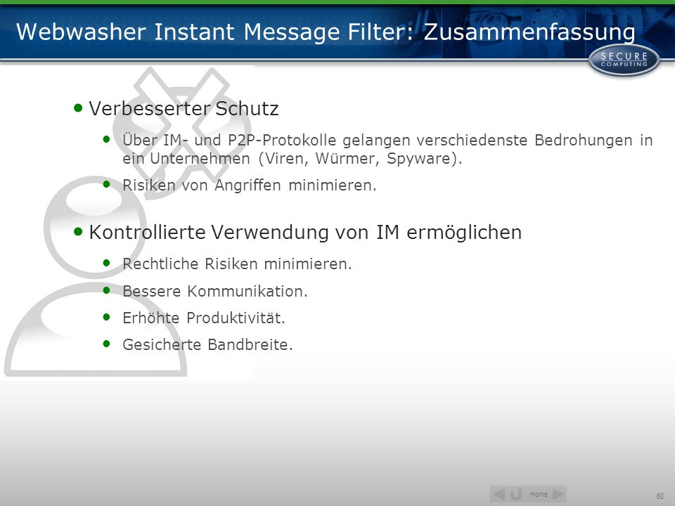 Webwasher Instant Message Filter: Zusammenfassung