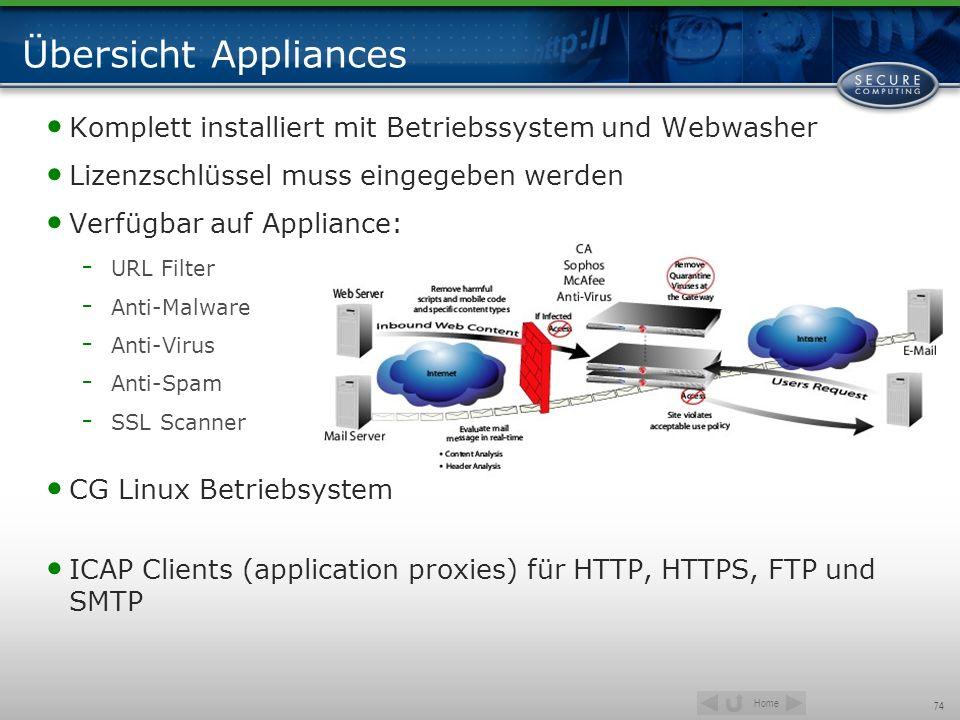 Übersicht Appliances Komplett installiert mit Betriebssystem und Webwasher. Lizenzschlüssel muss eingegeben werden.