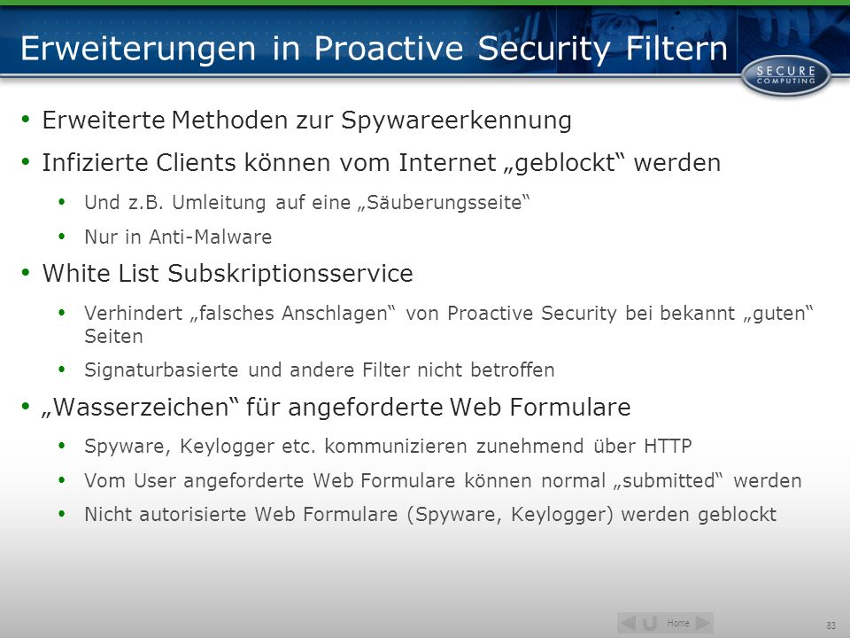Erweiterungen in Proactive Security Filtern