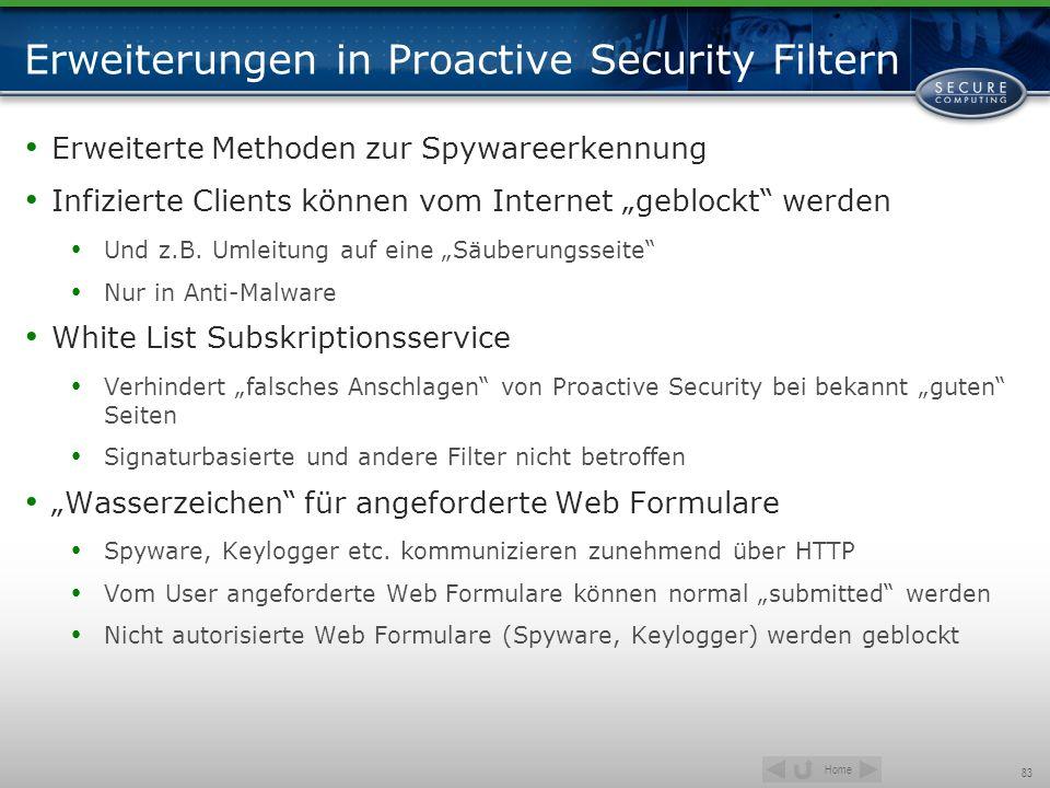 Erweiterungen in Proactive Security Filtern