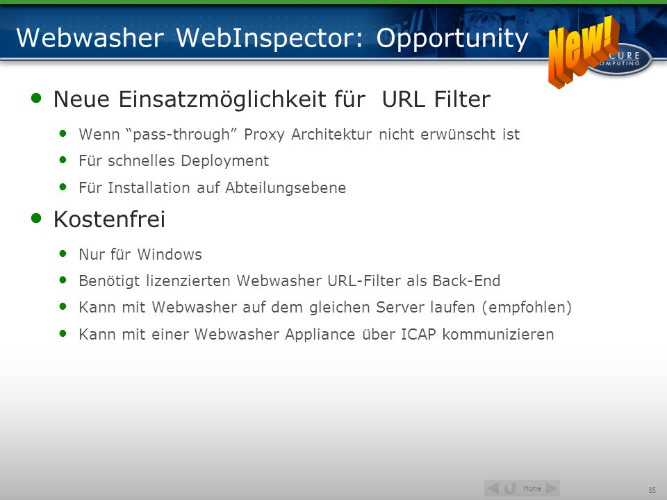 Webwasher WebInspector: Opportunity
