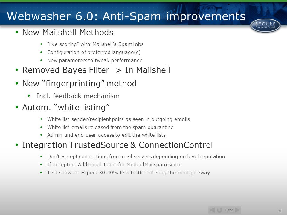 Webwasher 6.0: Anti-Spam improvements